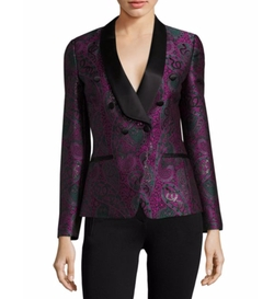 Paisley Jacquard Double-Breasted Blazer by Roberto Cavalli in Empire