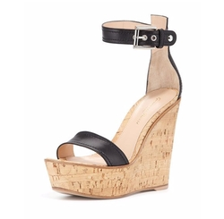 Napa Leather Cork Wedge Sandals by Gianvito Rossi in Pretty Little Liars