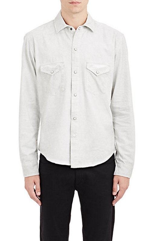 Denim Irving Shirt by Earnest Sewn in Black-ish