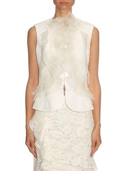 Ivory Organza & Lace Ruffle Detail Silk Faille Vest by Oscar De La Renta  in Suits