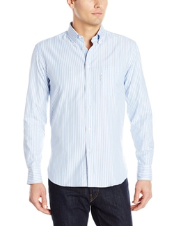 Men's Oxford Stripe Sportswear Shirt by Faconnable  in The Big Short
