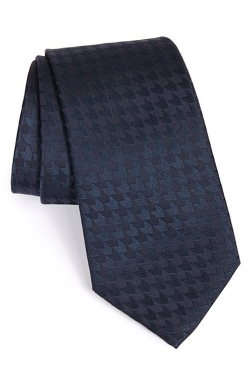 Houndstooth Silk Tie by Armani Collezioni in Elf