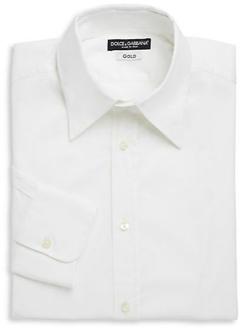 Cotton Woven Dress Shirt by Dolce & Gabbana in Absolutely Anything