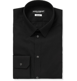 Black Gold-Fit Cotton-Blend Shirt by Dolce & Gabbana in Southpaw