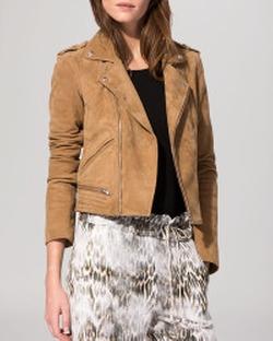 Basalta Suede Moto Jacket by Maje in Billions