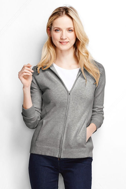 Long Sleeve Zip Hoodie Active Sweater by Lands' End in Love the Coopers
