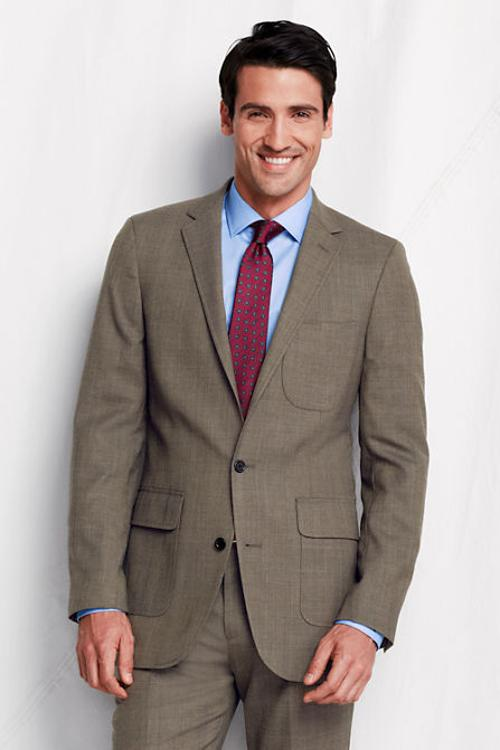 Men's Tailored Fit SuperNatural Wool Suit Jacket by Lands' End in Ride Along