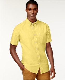 Maxwell Short-Sleeve Button-Down Shirt by Tommy Hilfiger in Black-ish