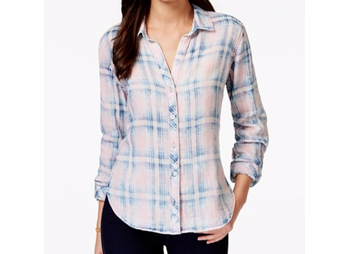 Plaid Button-Down Shirt by Olive + Sloane in Billions - Season 1 Episode 7