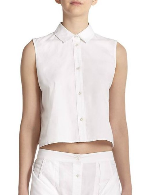 Poplin Button-Down Cropped Top by T by Alexander Wang in Begin Again