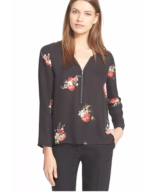 Floral Print Crêpe De Chine Blouse by The Kooples in Pretty Little Liars