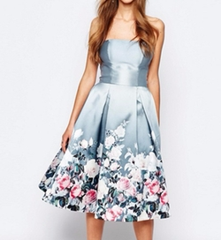 Bandeau Midi Dress In Sateen Floral Print by Chi Chi London in The Good Place