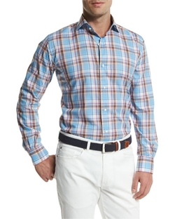 Tuscan Plaid Long-Sleeve Sport Shirt by Peter Millar  in Blow