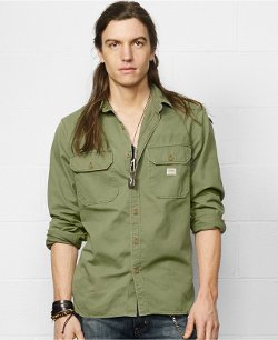 Military-Inspired Sport Shirt by Denim & Supply Ralph Lauren in Black or White