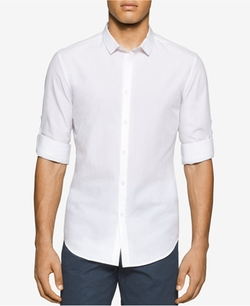 Men's Slim-Fit Seersucker Long-Sleeve Shirt by Calvin Klein in Fast Five