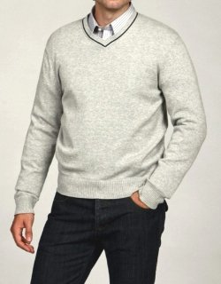 Mens V-Neck Cotton Sweater by George and Martha in McFarland, USA