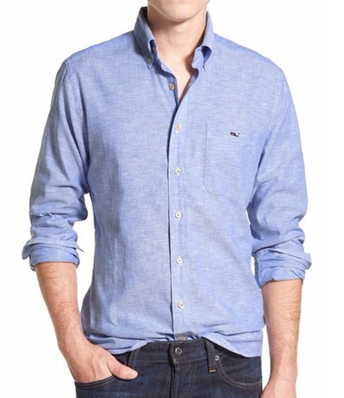 Lobsterville Tucker Chambray Sport Shirt by Vineyard Vines in Teen Wolf - Season 5 Looks