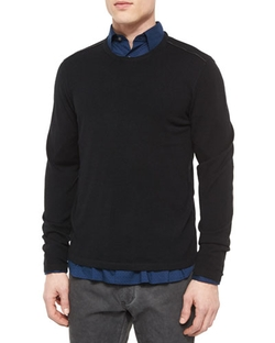 Leather-Trimmed Crewneck Sweater by John Varvatos Star USA in The Flash