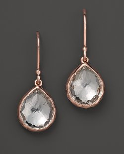 Rosé Teeny Teardrop Earrings In Clear Quartz by Ippolita in Crazy, Stupid, Love.