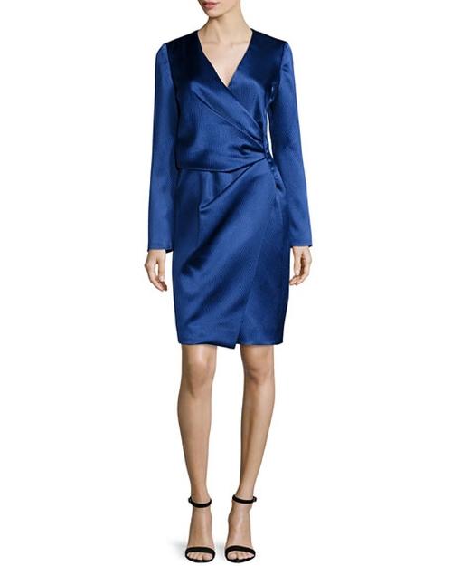Silk Long-Sleeve Deep-V Wrap Dress by J. Mendel in Empire - Season 3 Season 3 Preview