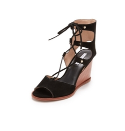 Lace Up Wedge Sandals by Blank Canvas in Fuller House