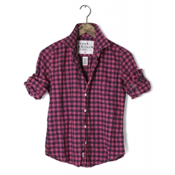 'Barry' Navy & Pink Check Flannel Shirt by Frank & Eileen in Brooklyn Nine-Nine