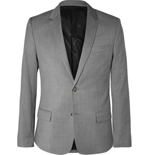 Grey Slim-Fit Wool Suit Jacket by Ami in Safe House