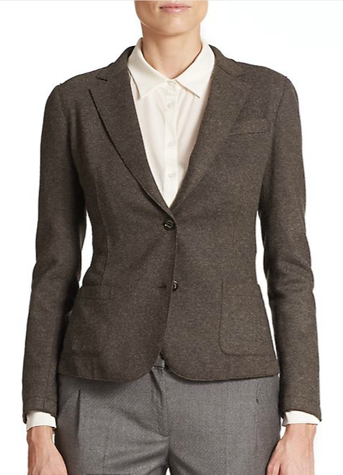 Elbow-Patched Lazer-Cut Two-Button Blazer by Eleventy in The Big Short