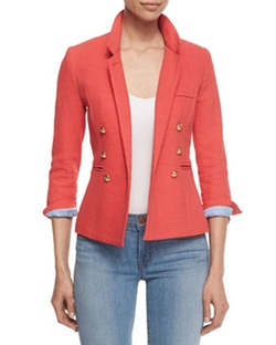 Rumpled Crepe Military Blazer, Nantucket Red by Smythe in Arrow
