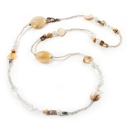 Long Exquisite Glass & Shell Bead Necklace by Avalaya in Couple's Retreat