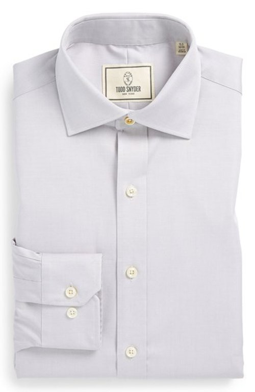 Trim Fit Solid Dress Shirt by Todd Snyder White Label in Her