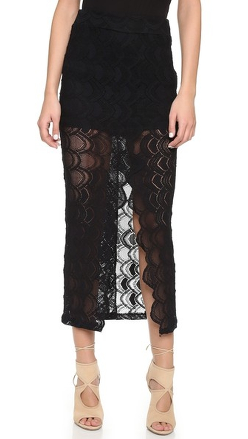 Victoria Lace Midi Skirt by Nightcap X Carisa Rene in The Flash - Season 2 Episode 13