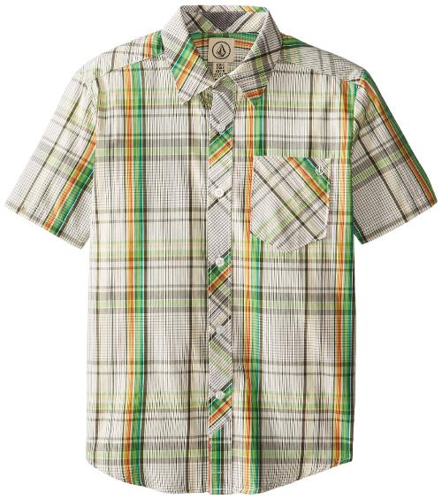 Boys 8-20 Weirdoh Plaid Short Sleeve Youth by Volcom in Get On Up