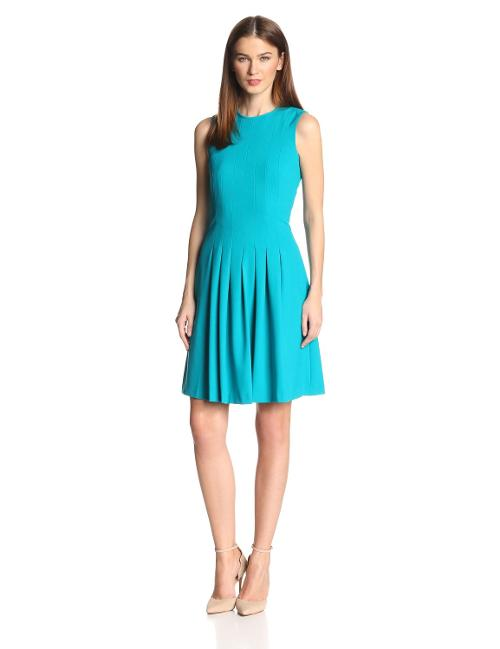 Women's Sleeveless Pleated Fit-and-flare Dress by Calvin Klein in The Giver
