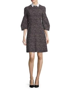 Printed Detachable-Collar A-Line Dress by Lela Rose in The Good Fight