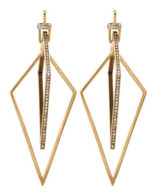 Diamond-Shaped Pave Crystal Earrings by Paige Novick in Lucy