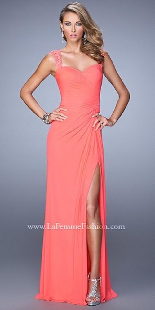 Beaded Lace Strap Prom Dresses by La Femme in Paper Towns