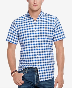 Short-Sleeve Checked Oxford Shirt by Polo Ralph Lauren in Ballers