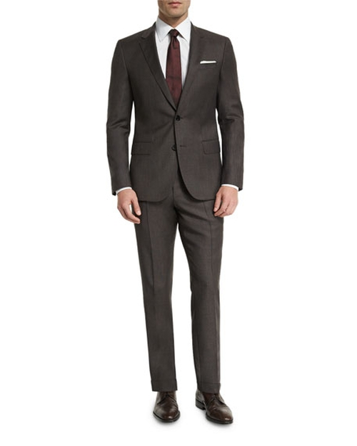 Huge Genius Micro-Textured Slim-Fit Two-Piece Suit by Boss Hugo Boss in Gold