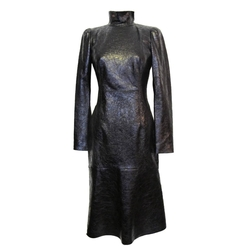 Cracked Leather Turtle Neck Cocktail Dress by Gucci in Empire