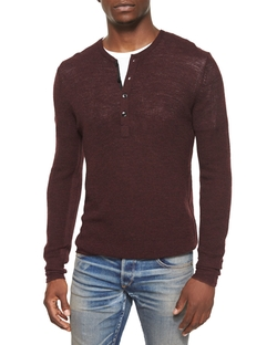 Garrett Long-Sleeve Thermal Henley Shirt by Rag & Bone in The Vampire Diaries