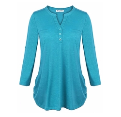 V Neck Curved Sleeve Button-Up Tunic Top by Becanbe in Maze Runner: The Death Cure