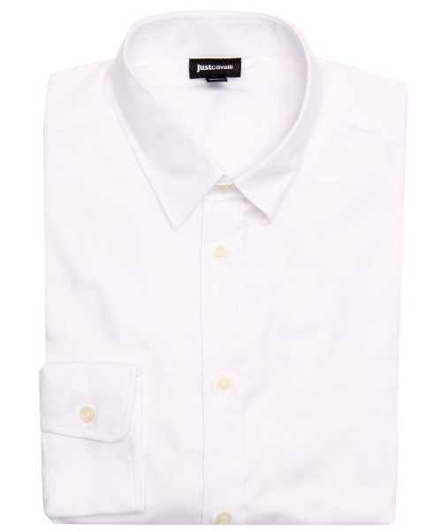Tonal Cotton Herringbone Point Collar Dress Shirt by Just Cavalli in Self/Less