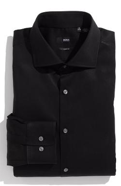 'Miles' Sharp Fit Tonal Stripe Cotton Dress Shirt by HUGO BOSS in Sabotage