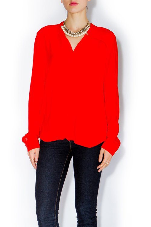 V-Neck Button Down Blouse With Back Flap by Splendid in Focus