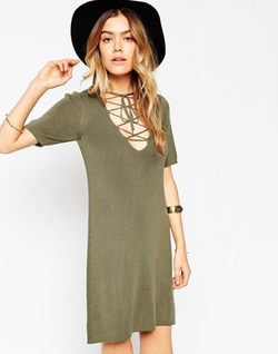 Lace Up A-Line Knit Dress by Asos in Pretty Little Liars
