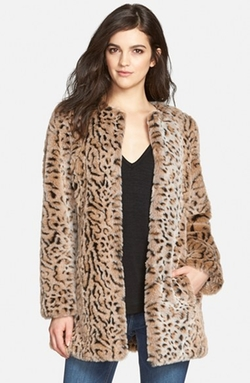 Faux Fur Leopard Print Coat by Steve Madden in Black-ish