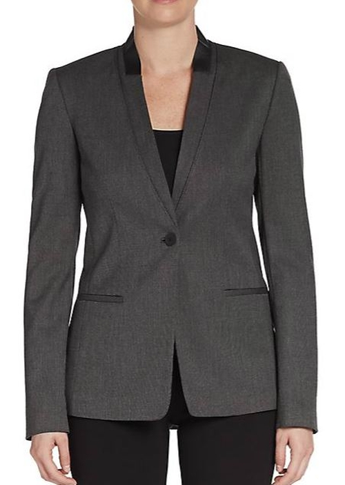 Leather Trim Collarless Blazer by Elie Tahari in The Good Wife - Season 7 Episode 3