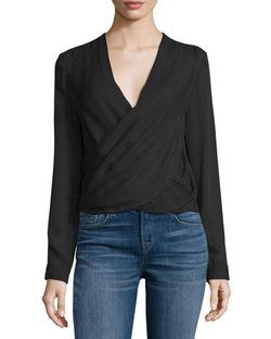 Gia Long-Sleeve Silk Wrap Blouse by L'Agence in Quantico