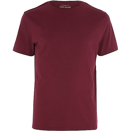 Red Marl Premium Crew Neck T-Shirt by River Island in A Walk in the Woods
